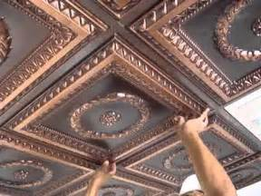 2x4 Suspended Ceiling Tiles by Faux Tin Drop In Ceiling Tiles Installation Youtube