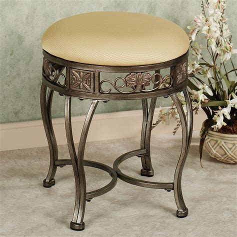 Antique Vanity Chairs by Hailey Backless Vanity Stool Antique Gold New Home