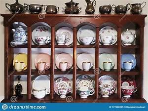 Tea, Cup, Shelf, Display, Of, Collection, Stock, Image