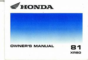 1981 Honda Xr80 Motorcycle Owners Manual