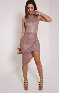Prim Rose Gold Lurex Asymmetric Drape Dress - Dresses - PrettylittleThing | PrettyLittleThing ...