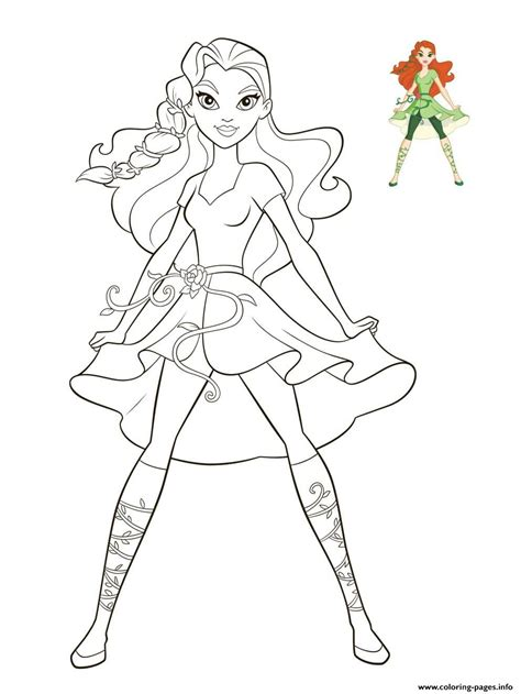poison ivy dc super hero girls coloring pages printable