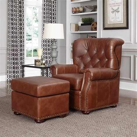 arm chair with ottoman home styles miles saddle brown faux leather arm chair with