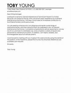 sample cover letter for computer technician job - leading professional general maintenance technician cover