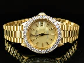 Pre-Owned Ladies 27 MM Rolex President Day-Date 18k Yellow Gold Diamond Watch