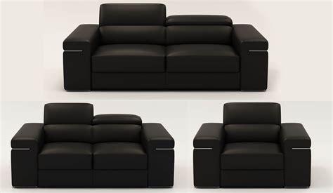 canapé 2 places noir deco in 1 ensemble canape 3 2 1 places en cuir