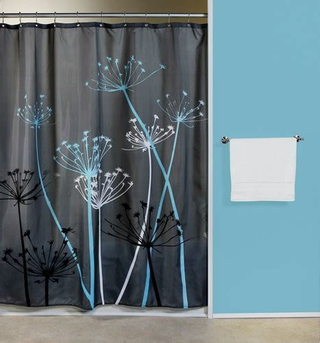Thistle Gray/Blue Fabric Shower Curtain   Curtain & Bath