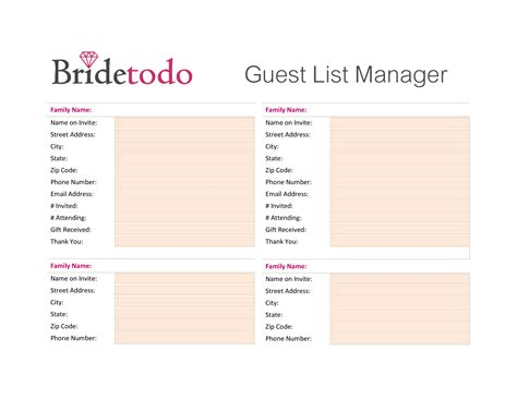 wedding guest list printable room surfcom