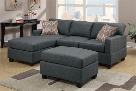 reversible sectional sofa chaise blue grey fabric reversible chaise sectional sofa with ottoman
