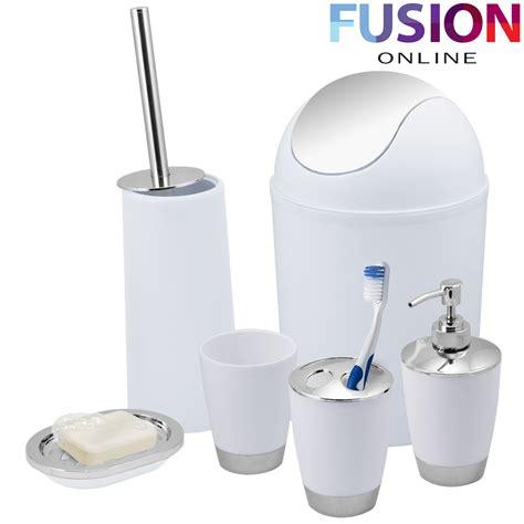 Bathroom Tumbler And Toothbrush Holder Bathroom Set 6 Accessory Bin Soap Dish Dispenser