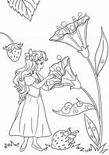 Thumbelina Coloring Illustration Lesson Pages Royalty sketch template