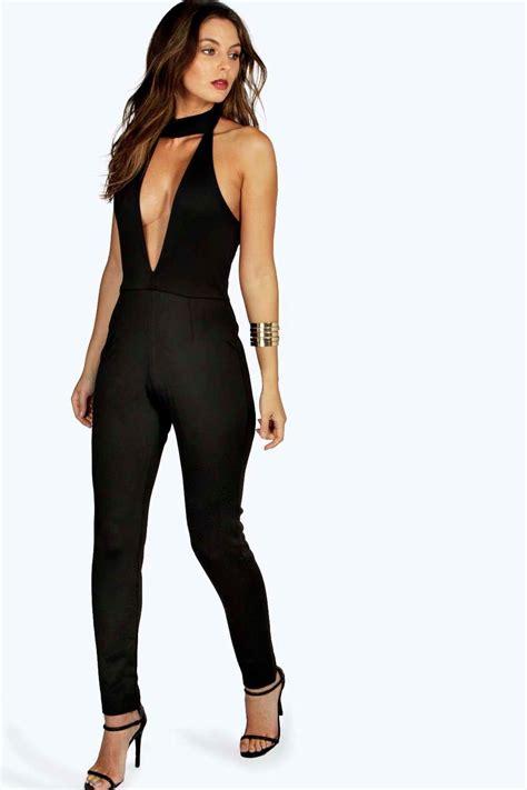 plunge jumpsuit boohoo womens hollie high neck plunge jumpsuit ebay