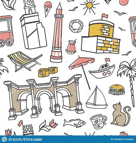 Antalya Symbols. Hand Drawn Vector Seamless Pattern With ...