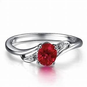ruby and diamond engagement ring on 10k white gold With ruby and diamond wedding ring