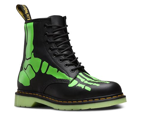 dr martens unisex  skelly glow   dark skeleton leather boots ebay