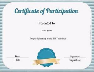 free templates for certificates of participation - free participation award certificate customize print