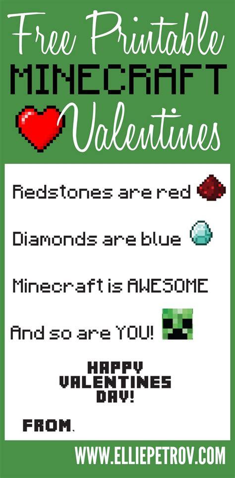 Free Printable Minecraft Valentine's