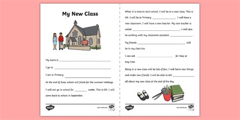 New Class Editable Social Story  Transition, New Beginning, New