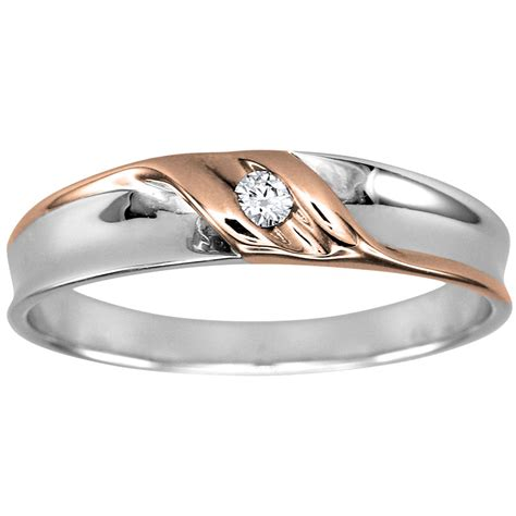mens solitaire diamond wedding ring in 10k white and rose
