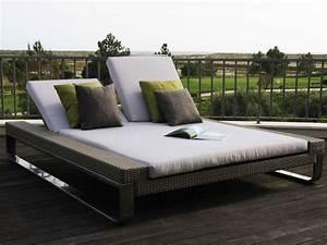 """Bain de Soleil """"Attitude Double Sun Bed"""" Coloris Silver Brushed Coussins Beige 37515"""