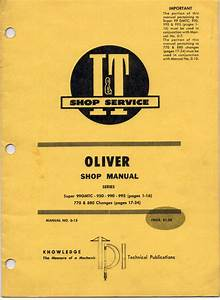 Oliver 950 990 995 770 880 99gmtc Shop Manual For Tractors