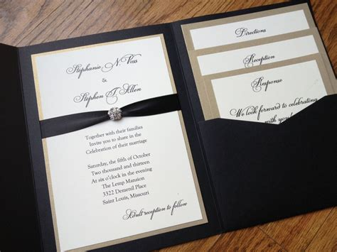 glamorous pocket wedding invitation in eggplant and gold