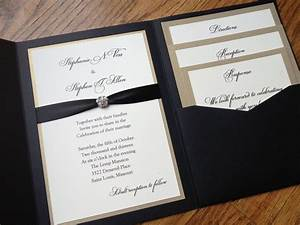 glamorous pocket wedding invitation in eggplant and gold With pocket wedding invitations with ribbon and rhinestones