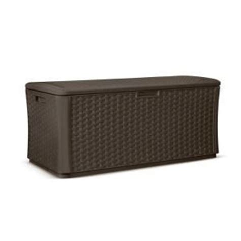 suncast 134 gallon deck box assembly suncast 134 gal resin wicker deck box the o jays home