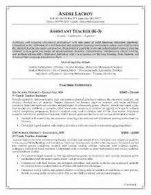 educational assistant resume exle teaching assistant resume writing exle