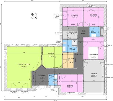 plan de maison moderne plain pied 4 chambres plan maison plain pied 4 chambres en u