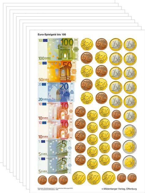 Maybe you would like to learn more about one of these? Mildenberger Verlag GmbH - Spielgeld bis Euro 100, VPE 10 Bogen