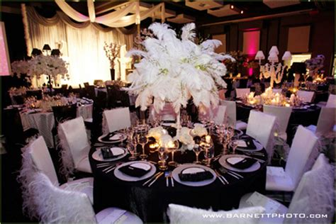 black and white party table centerpieces wedding inspiration center 2012 elegant black and white