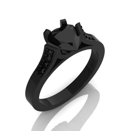 gorgeous 14k black gold 1 0 ct heart black diamond modern wedding ring engagement ring for women