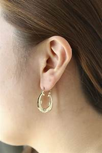 10k Yellow Gold Friendship Love Hoop Earrings With Kissing