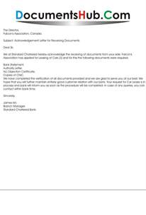 acknowledgement letter for receiving documents