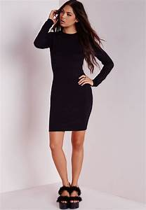 missguided robe moulante noire a manches longues to With robe noire moulante manche longue