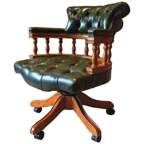 antique style captains chair desk chesterfield leather