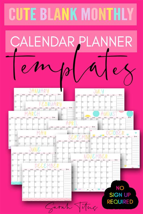 cute blank monthly calendar planner templates sarah