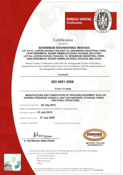 bureau certification bureau veritas certification seremban engineering berhad