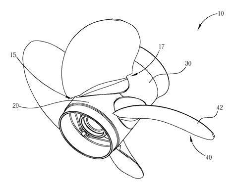 Boat Propeller Drawing by Patent Us7357686 Boat Propeller With Adjustable Blades
