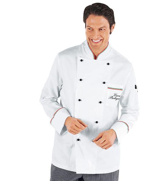 veste de cuisine homme brodé veste chef cuisinier prestige blanc liseré tricolore 100
