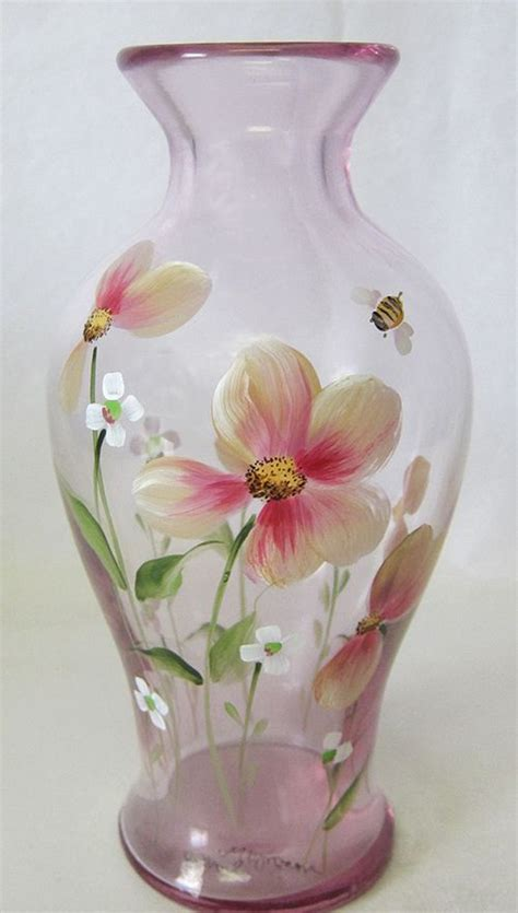 glass painting flower vase 117 best images about painted glass flowers on