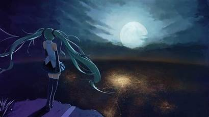 Miku Hatsune Anime Vocaloid Moon Wallpapers Looking