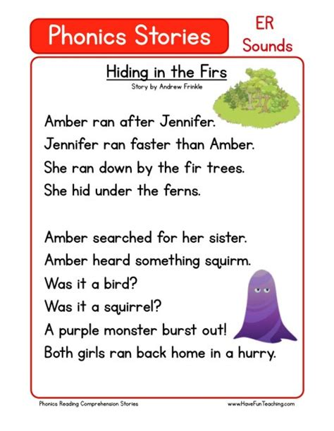 reading comprehension worksheet hiding   firs