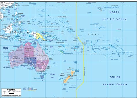 political map  oceania ezilon maps