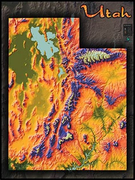 physical map  utah topography colorful mountains