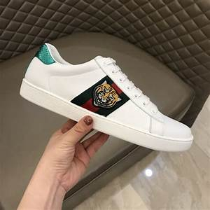 Gucci Tiger Ace Embroidered Sneaker White Gc27 We Replica