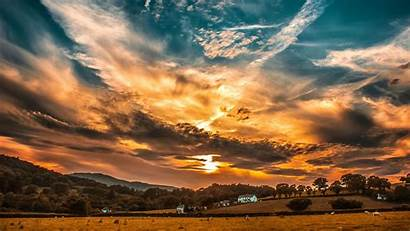 Sunset Sky Clouds Horizon 1080p Trees Background