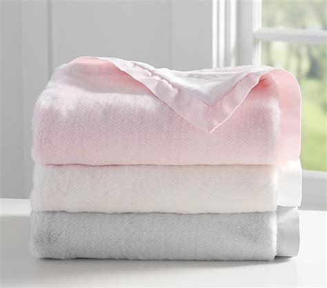 personalized faux fur luxe faux fur baby blankets pottery barn