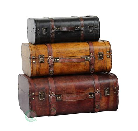 Vintage Leather Suitcases Luggage Shabby Chic Style 3